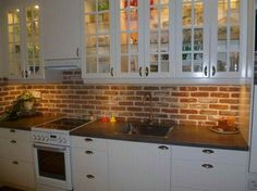 [ Faux Brick Backsplash Kitchen Homeactive Brick Backsplash View Gallery Brick Kitchen Backsplash Extended ] - Best Free Home Design Idea & Inspiration Brick Tiles Kitchen, Brick Tile Backsplash, Exposed Brick Kitchen, Kitchen Backsplash, Backsplash Ideas, Quartz Backsplash, Hexagon Backsplash, Mirror Backsplash, Herringbone Backsplash
