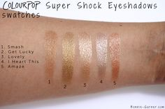 ColourPop Super Shock Eyeshadows Get Lucky, I Heart This, Lovely, Smash, Amaze swatches