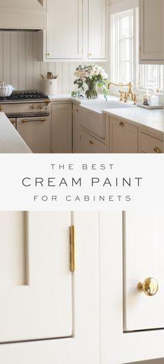 Best Kitchen Cabinet Paint, Best Kitchen Cabinets, Kitchen Cabinet Colors, Painting Kitchen Cabinets, New Kitchen, Kitchen Countertops, Refurbished Kitchen Cabinets, Kitchen Redo, Cream Colored Kitchen Cabinets
