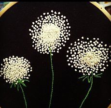French knots Queen Anne's Lace on black velvet pincushion. Love these French knot dandelions. They really pop on the black background! Easy French Knot Embroidery Tutorial and Designs For Beginners french knots in cross stitch French knot embroidery is am French Knot Embroidery, Hand Embroidery Stitches, Silk Ribbon Embroidery, Crewel Embroidery, Cross Stitch Embroidery, Flower Embroidery, Freehand Machine Embroidery, Hand Embroidery Tutorial, Simple Embroidery