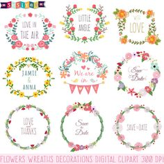 Buy 1 Get 1 Free Wedding Flower Wreaths Decoration Design Elements Digital ClipArt cards Invitation Label Tags WS448 INSTANT DOWNLOAD by SasiyaDesigns on Etsy