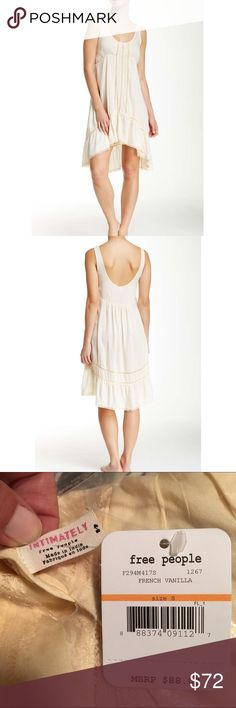 """Free People Parisian Lace Trim Slip Dress Brand new in Package with tags! Intimately Free People Parisian Lace Trim Slip Dress in French Vanilla. Size M. Dainty lace trim details a faded slip dress designed with a high low hem and scoop neck. Approx length in front is 33"""" and back is 38"""". Hand wash cold. 100% rayon. ❌ NO TRADES ❌ NO LOWBALLING ❌ Free People Dresses High Low"""