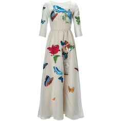 Vivetta Blue Embroidered Butterfly Dress ($650) ❤ liked on Polyvore featuring dresses, multi, white floral dress, embroidered dress, butterfly dress, vintage style dresses and white 3/4 sleeve dress