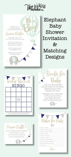 Elephant Baby Shower Invitation & Matching Designs - Baby Shower Bingo, Books for Baby, Diaper Raffle, Wishes for Baby - printable files!
