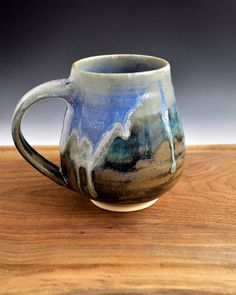 Pottery Mug or Beer Stein ceramic cup blue metallic by OneClayBead