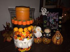 Easy Halloween project! Candy and hurricane vase from Target.