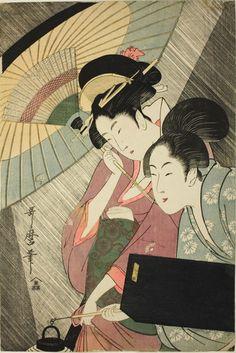 Night Rain by Utamaro KITAGAWA (1753~1806), Japan