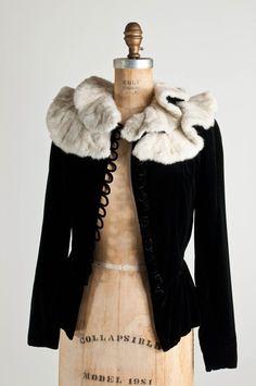 1930s vintage silk velvet jacket with ermine fur collar.