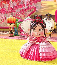 Vanellope Is definitely my favorite character she's so original even when given sparkle and glitter she still wants to be herself no matter what that just takes so much awesomeness right there