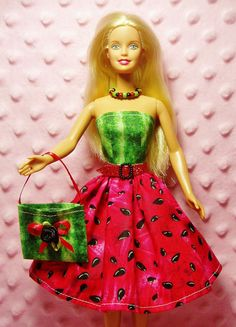 Barbie Clothes - Red Watermelon Dress, Purse, Necklace, Belt and High Heel Shoes. etsy