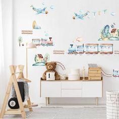 Samolepiace tapety na stenu z textilnej fólie, ktorá je umývateľná, pevná a vhodná aj na drsnú stenu. Baby Room, Decals, Trains, Home Decor, Stickers, Wallpaper, Tags, Decoration Home, Room Decor