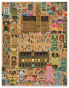 Tom Schamp's Brussels themed wrapping paper illustration for art shop Plaizier