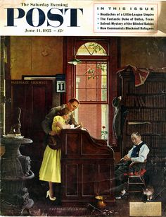 The Saturday Evening Post, June 11, 1955. Cover by Norman Rockwell - The Marriage License.