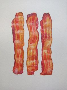 bacon watercolor illustration / food painting / breakfast food / original watercolor art / kitchen wall decor / diner wall art - New Sites Food Drawing, Watercolor Food, Watercolor Illustration, Watercolor Ideas, 21 Day Fix, Best Bacon, Fruit And Vegetable Carving, Food Painting, Dibujo