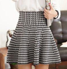 Black-White Houndstooth Ruffle High Waisted Skirt