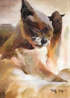 """T i t l e : """"Siamese Bath""""  M e d i u m : Watercolor by Tong Yinn"""