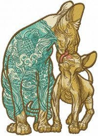two loving modern sphynx embroidery design. Machine embroidery design. www.embroideres.com