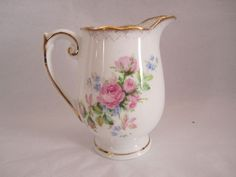 ROSLYN CHINA CREAMER ENGLAND 3 3/4 IN HIGH  MOSS ROSE  PRE OWN