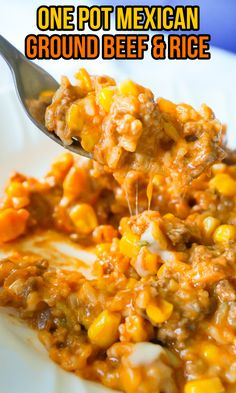 Ground Beef Recipes Easy, Beef Recipes For Dinner, Rice Recipes, Easy Healthy Recipes, Casserole Recipes, Mexican Food Recipes, Easy Meals, Beef Casserole, Skillet Recipes
