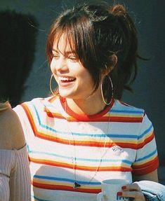 Middle part side bangs | Short hair with bangs, Hair ...  Selena Gomez Shoulder Length Hair With Side Bangs