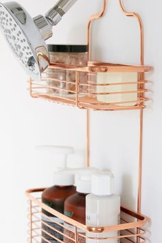Urban Outfitters Minimal Rose Gold Shower Caddy - Copper One Size Rose Gold Bed, Rose Gold Decor, Rose Gold Accessories, Bathroom Accessories, Urban Outfitters, Gold Shower, Nautical Bathrooms, Rustic Bathrooms, Gold Bedroom