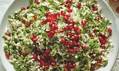 """""""Cauliflower couscous"""" made into tabbouleh (with pomegranate seeds) - Ottolenghi Cauliflower Tabbouleh, Cauliflower Recipes, Veggie Recipes, Salad Recipes, Cooking Recipes, Healthy Recipes, Healthy Foods, Healthy Eating, Ottolenghi Salad"""