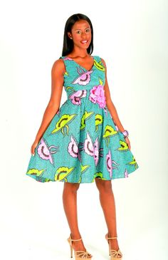 Blue And Pink African Print Dress