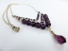 Silver and Amethyst chain necklace, Sterling silver chain necklace, February birthstone necklace, Amethyst beads necklace,Xmas gift for her by IgnisDesignStudio on Etsy