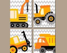CONSTRUCTION Wall Art Trucks CANVAS or Prints Boy par TRMdesign