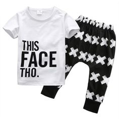 Size: 6-12M, 1-2 Years, 2-3 Years, 3-4 Years, 4-5 Years Sleeve Length:: Short Sleeve Pattern:: Geometric Color:: White+Black Material:: Cotton Blend Package included: 1x Tops + 1x Pants