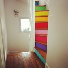 woodblock used in interior decoration Home decor before and after dream home with views,modern home design,luxury house design,modern interi. Painted Stairs, Painted Floorboards, Painted Staircases, Painted Floors, Stairway To Heaven, Home And Deco, Stairways, Rainbow Colors, Bright Colours