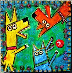 """DOG PARK FRISBEE TOURNAMENT"" mixed media on wood by Tracey Ann Finley"