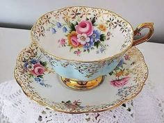 Teacup Cup & Saucer Royal Albert - Golden Star Flowers on Blue Floral ~ Tea Cup Set, My Cup Of Tea, Tea Cup Saucer, Tea Sets, Antique Tea Cups, Vintage Cups, Vintage Tea, Royal Albert, Party Set