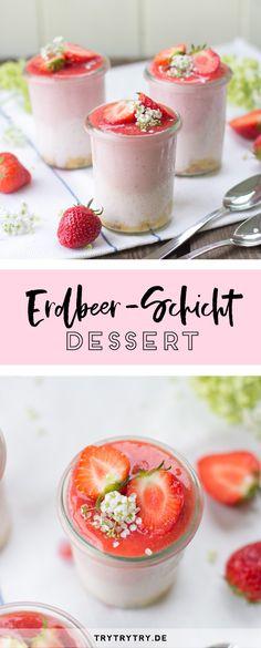 Erdbeer-Schicht-Dessert #sommer #dessert #erdbeer #erdbeere #schichtdessert #erdbeerdessert #rezept #erdbeerrezept