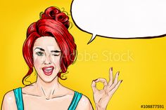 Picture of Winking girl is showing OK sign with speech bubble. Comic woman  with speech bubble. Sexy stock photo, images and stock photography. 15c9270e0d