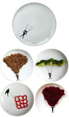 Boguslaw Sliwinskihas created a set of dishware designed around extreme sporting themes from parachuting and weight-lifting to rock diving, each featuring plain black figures on blank white backgrounds that encourage you to fill in the blanks.
