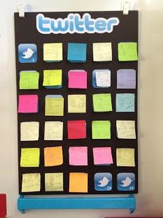 Twitter board for exit tickets. Also, # the birds & each student puts their Post-It on their #