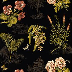 Naples #fabric in #black from the Great Estates collection. #Thibaut #Floral
