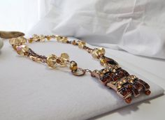 Amber Smoked Topaz Crystal Glass Chain Long by Sparklesalot2