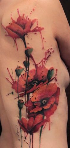 11-Watercolor-Poppy-Tattoo.jpg (600×1264)