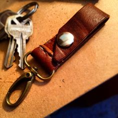 Genuine Leather Key Fob with brass clip and snap for belt mounting. No more digging for your keys!