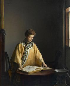 """The Yellow Jacket,"" William McGregor Paxton, 1907, oil on canvas, 27 1/4 x 22 1/4"", private collection."