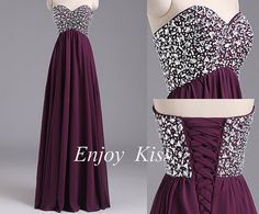 Beading Prom Dress Long Prom Dress Sweetheart Prom by EnjoyKiss
