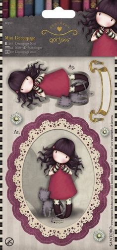 """Santoro/Docrafts Gorjuss """"Purrfect Love"""" Mini Decoupage. Perfect for cards, scrapbooks and other crafting projects! This package contains twelve pieces to make one detailed 3D image. Imported."""