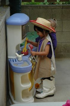 Exploring the Outdoor Classroom: Dramatic Play Ideas - Outdoors! This site has MANY ideas. :)