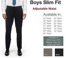 Age 1-13 Boys Pull Up School Trousers Elasticated Black Grey Navy Teflon