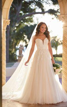 **Stella York, 7077, Iv/mus/por, Sz 28, $1298. Available at Debra's Bridal Jacksonville, FL 32256 Contact us to make an appointment (904) 519-9900 Lace Wedding Dress, Dream Wedding Dresses, Designer Wedding Dresses, Wedding Gowns, Wedding Bells, Vows Bridal, Bridal Gowns, Stella York Bridal, Chiffon