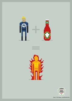 """Voici """"Only for real superheroes"""" une série de Pub pour notre Ketchup préféré,association d'idées entre le produit et le super héros, le tout en pixel-art et minimalisme. ParViola Trentin,Look !"""