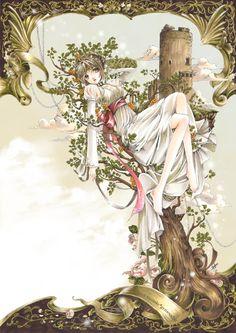 Princess with short blond hair, green eyes, white dress, & pink ribbon by manga artist Shiitake.