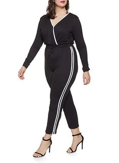 78ccf175d2d Plus Size Varsity Stripe Soft Knit Jumpsuit